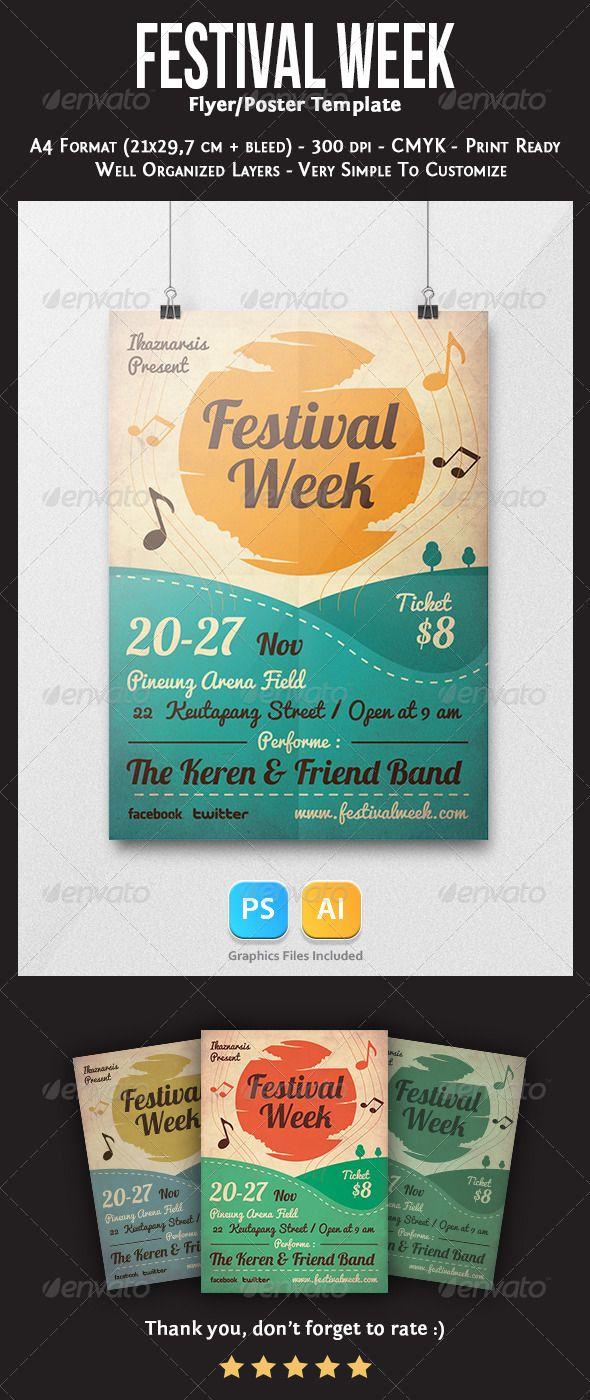 Festival Week Flyer Template | Cartelitos, Arte gráfico y Paletas de ...