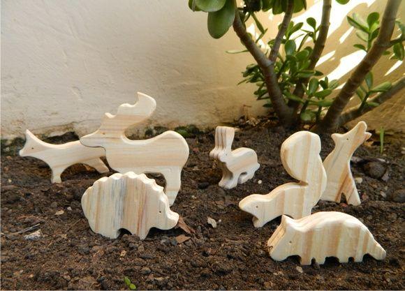 Animais em Madeira - Kit Floresta