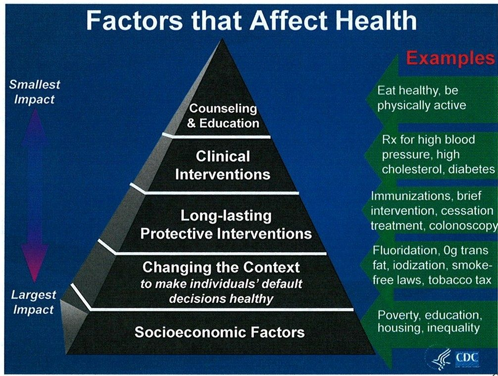 Pyramid of factors affecting health the most influential