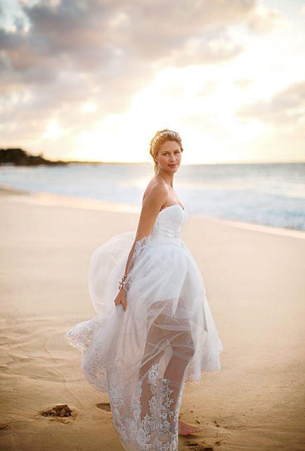 Strapless Beach High Low Wedding Dresses