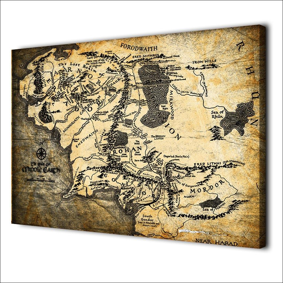 HD printed 1 piece canvas art ancient map painting wall pictures for ...