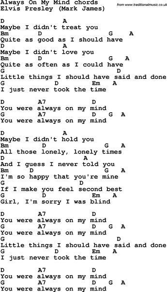 Song Lyrics With Guitar Chords For Always On My Mind Music