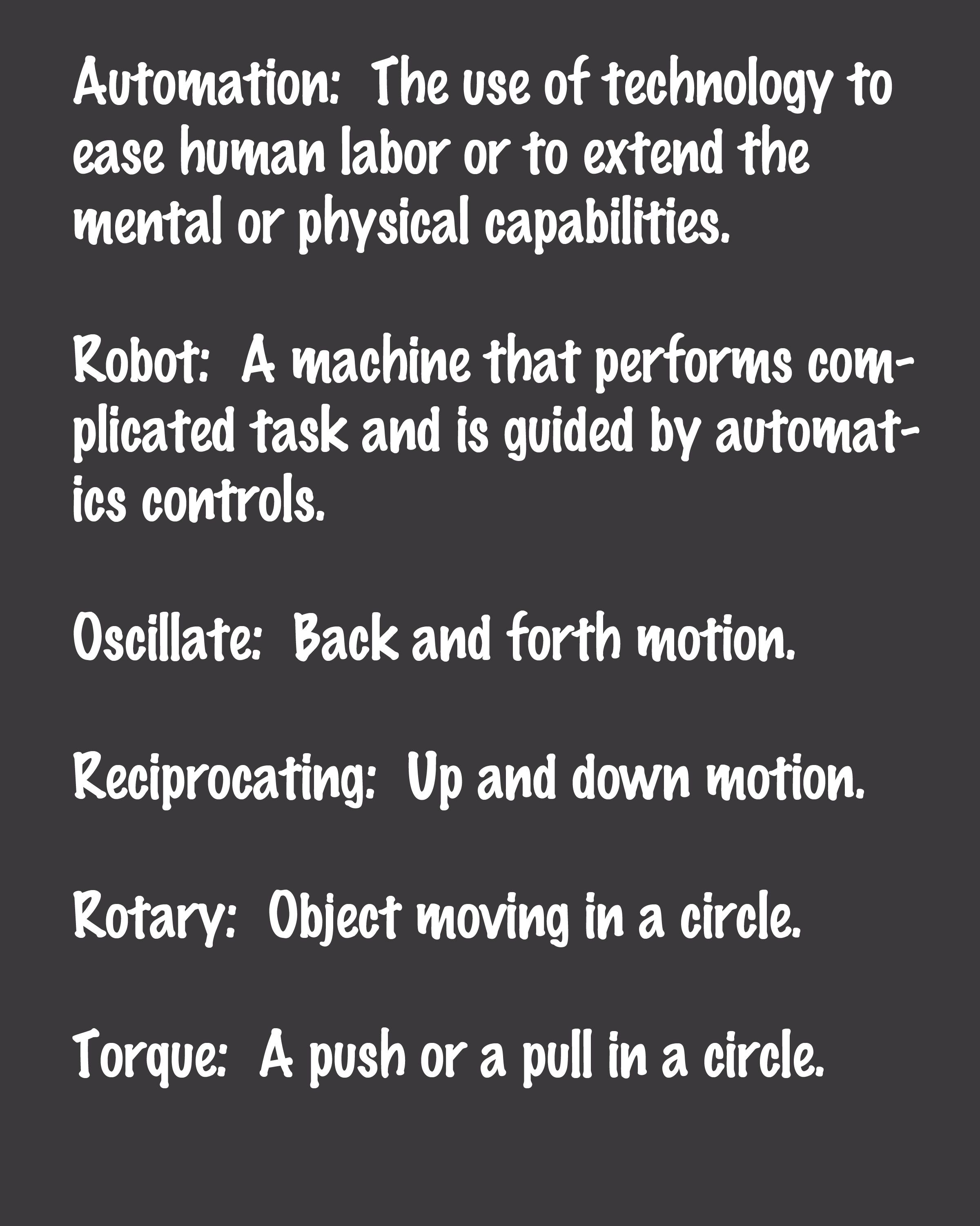 Vocabulary Words For Simple Robot Unit