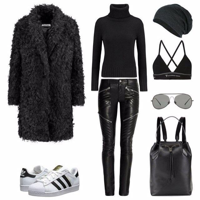 Teddy + leather + superstars ◻️◼️ @liketoknow.it www.liketk.it/288z1 #liketkit #ootd #outfit #outfitoftheday #polyvore #fashion #style #instaoutfit #instafashion #adidas #adidassuperstar #allblack #saintlaurent #tbyalexanderwang #acnestudios