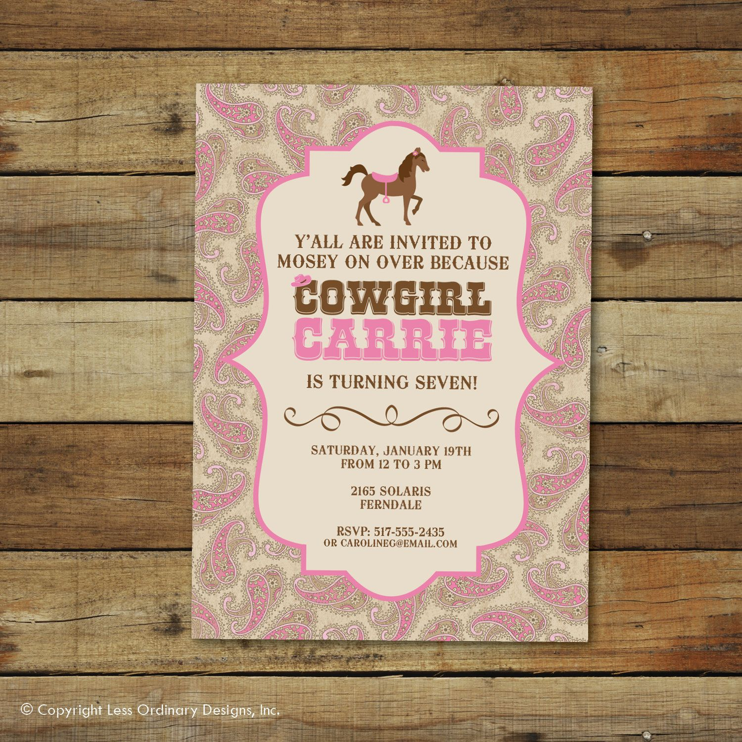Cowgirl birthday party invitation with pink paisley, western style ...