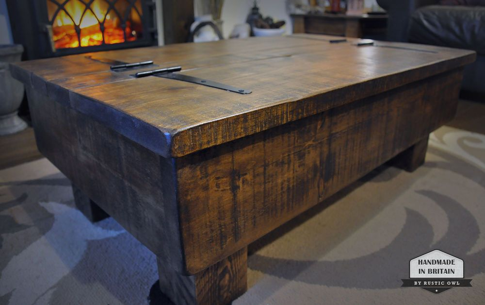 Storage Coffee Table Wood Chest Rough Sawn Rustic Pine 3ft 2 Plank Lid Design