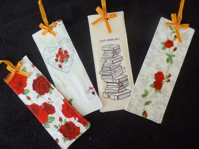Hola, hoy quiero enseñaros unos fantásticos puntos de libro confeccionados en tela con distintos tipos de rosas rojas, espectaculares y orig...