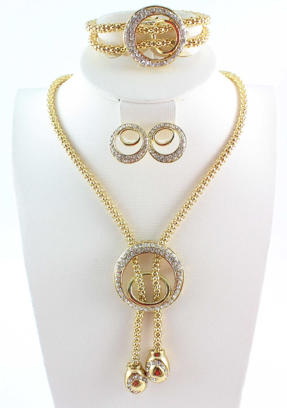 1735a450601 Free Shipping Dubai African 18k Gold Plated Costume Jewelry Sets Clear  Rhinestone Necklace Jewelry Set For Women Dressional