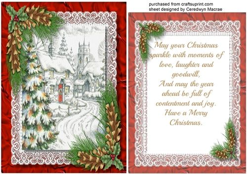 A Lovely Card With A Beautiful Christmas Scene And Pine Leaves In