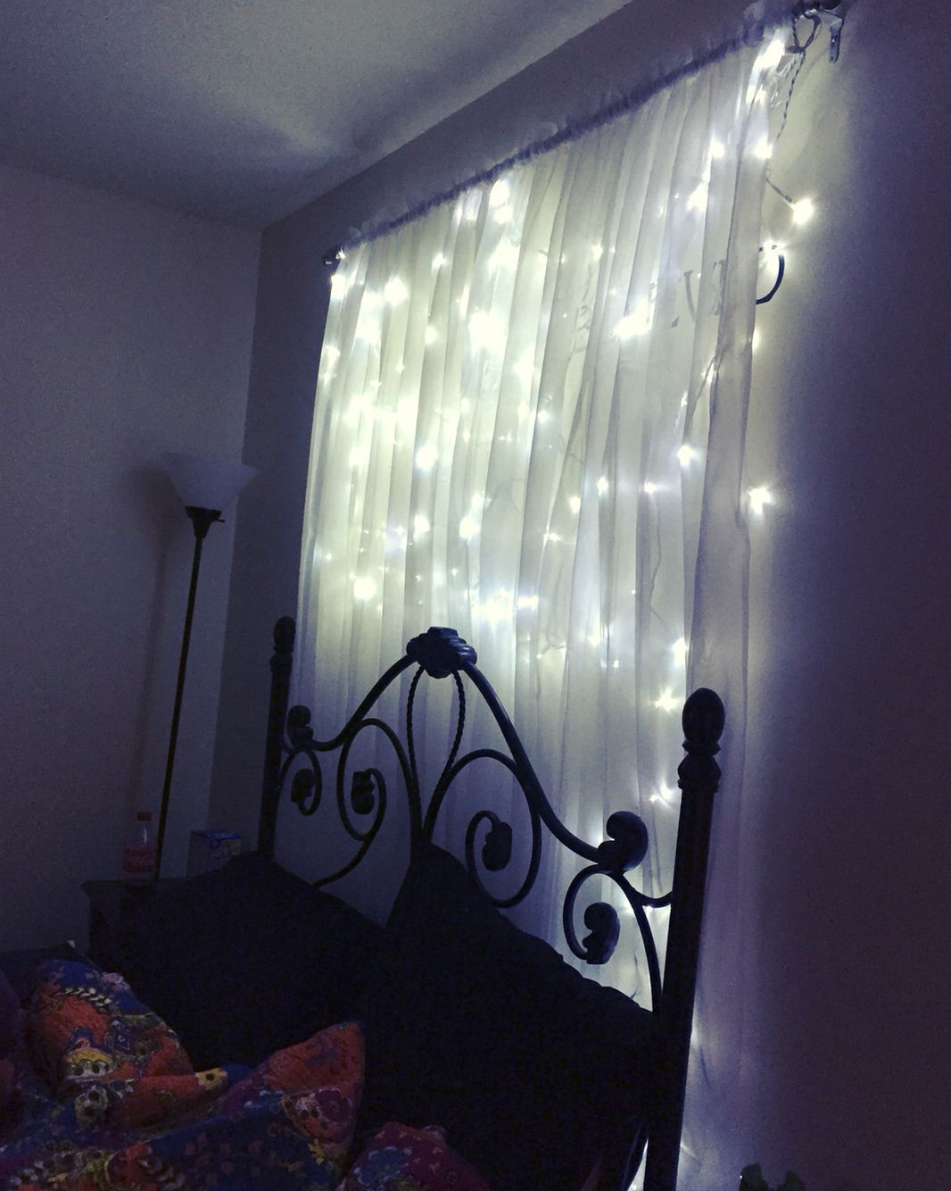 Diy Headboard Lights 1 Curtain Rod White Sheer Curtains Around