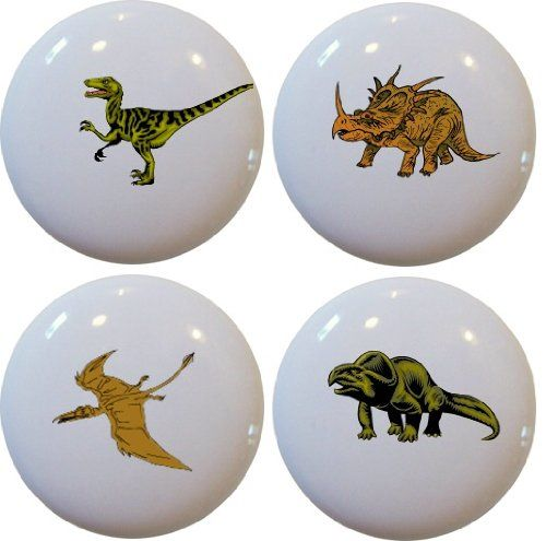 4 Dinosaur T-Rex Ceramic Cabinet Drawer Pull Knobs - Cabinet And ...