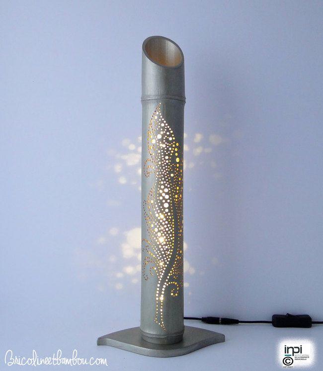 Lampe Bambou Led Blanc H 44cm