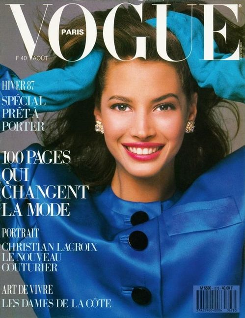 Christy Turlington photographiée par Brigitte Lacombe en couverture du numéro d'août 1987 de Vogue Paris