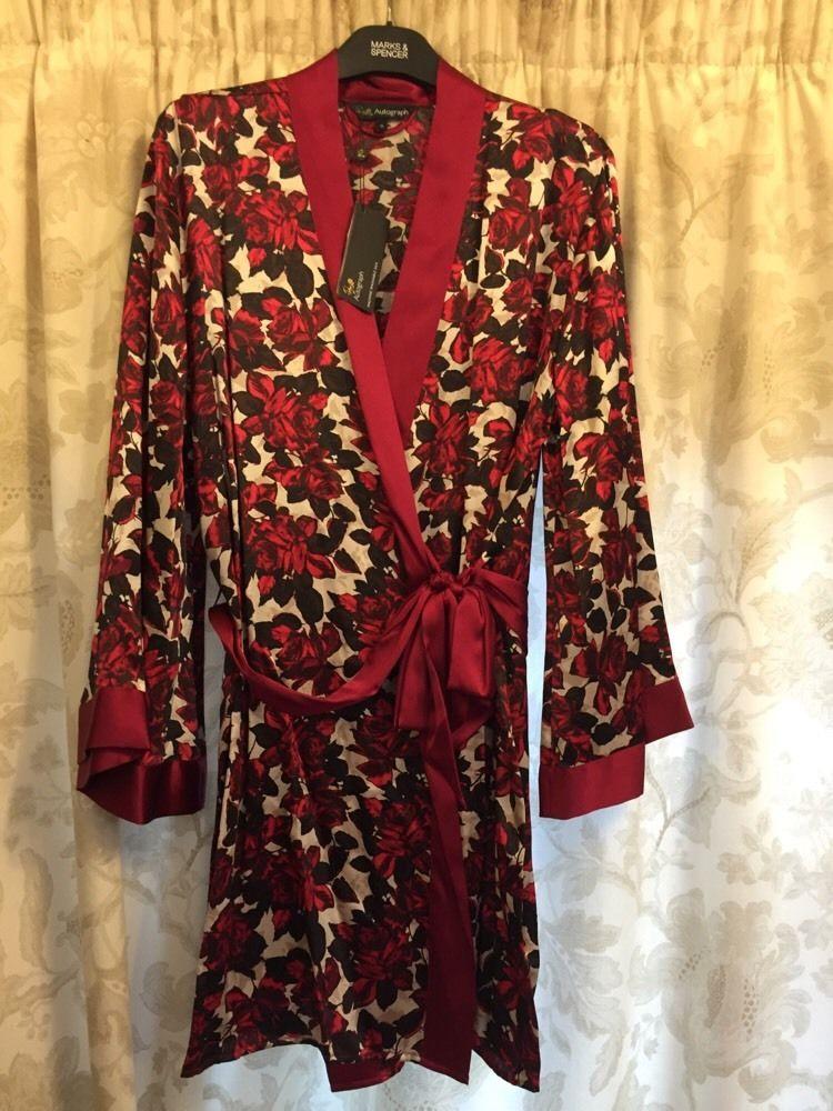 M&S ROSIE AUTOGRAPH ladies dressing gown/Wrap 100%SILK UK16 EU44 ...