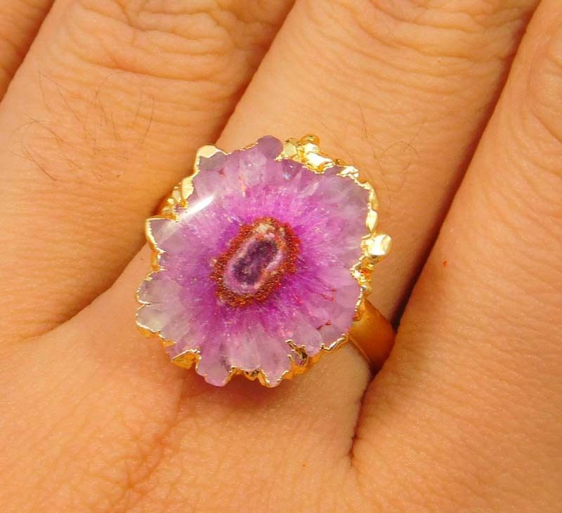 20 Carat.Gold Plated Pink Solar Druzy Agate Adjustable Ring Jewelry NJ1185 #Handmade