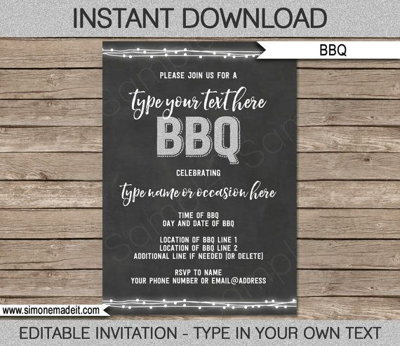 Bbq Invitation Template For Birthday Bbq Backyard By Simonemadeit