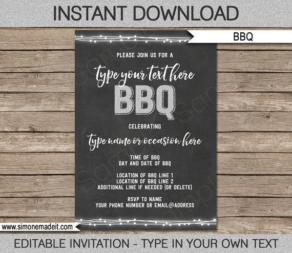 BBQ Invitation Template - for birthday bbq, backyard bbq - bbq invitation template
