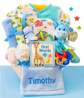 Safari friends personalized baby boy gift basket by gift safari friends personalized baby boy gift basket by gift baskets etc negle Images