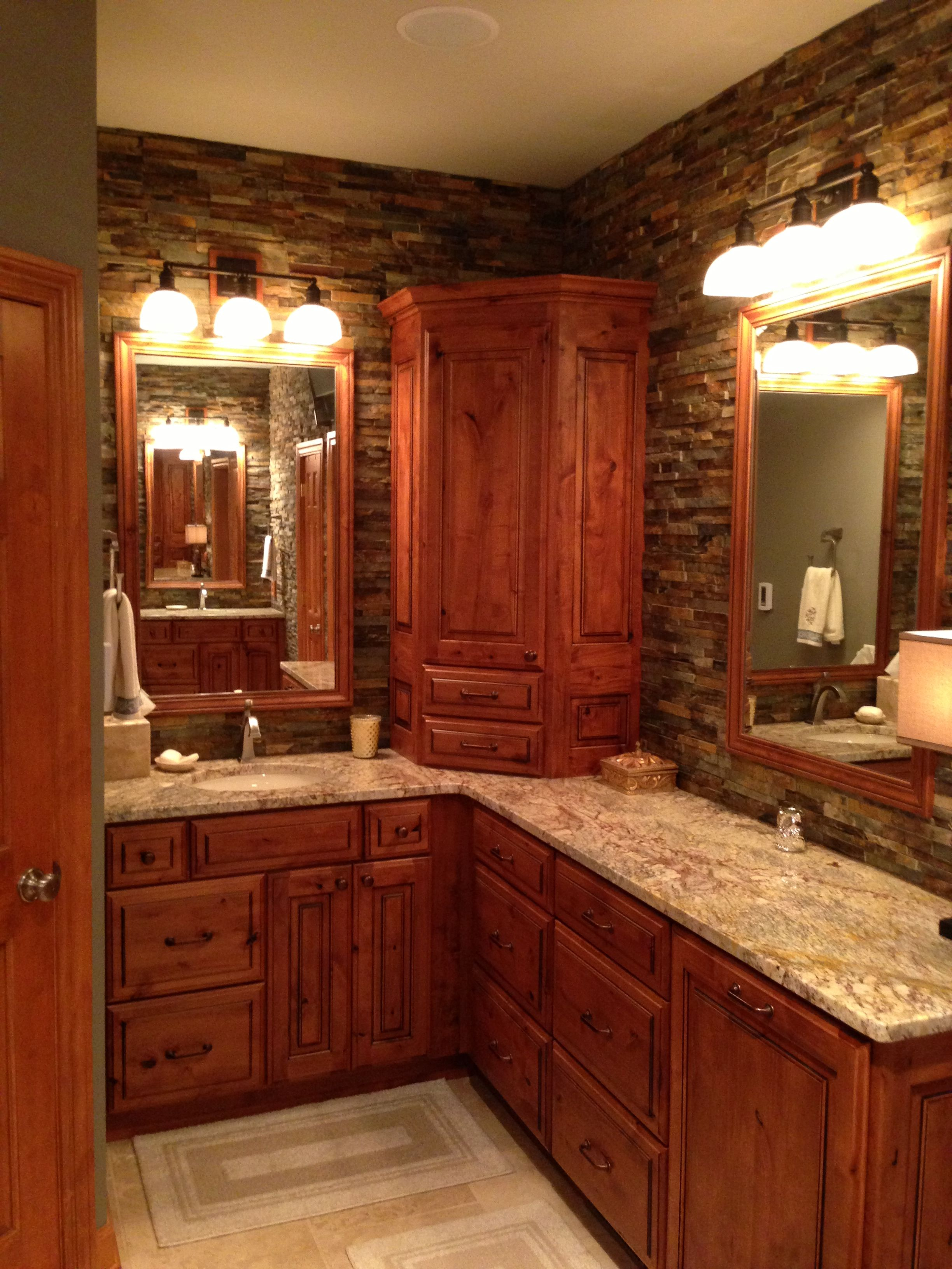 Elegantly rustic master bathroom with dry stacked stone for Master bathroom granite