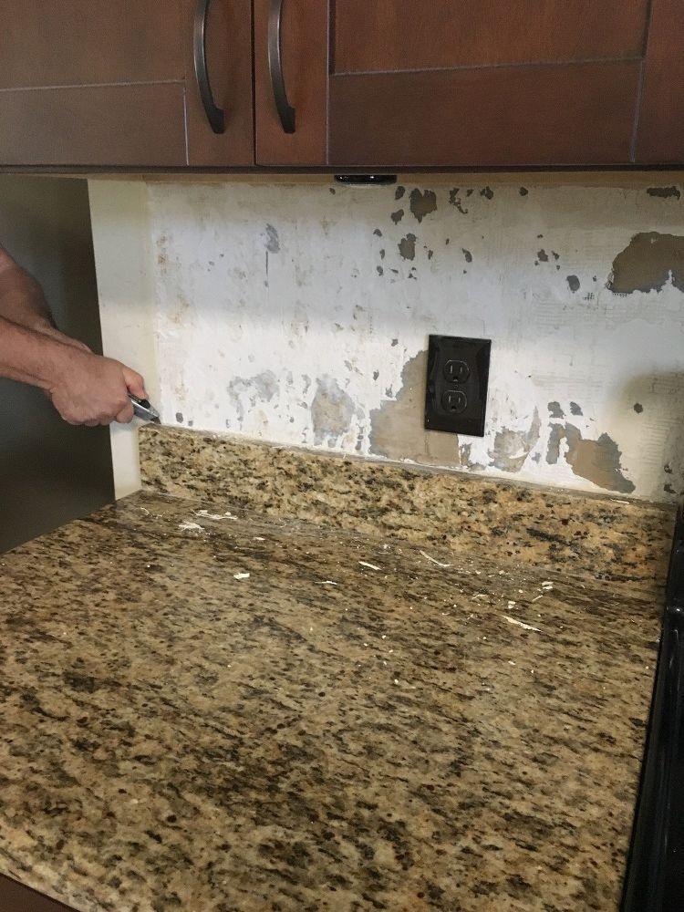 Backsplash And 4 Granite Removal Granite Backsplash Diy