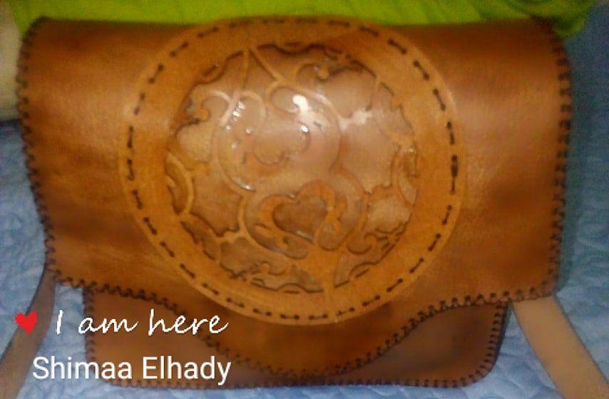 شنطة جلد طبيعى هاندميد برسمة مفرغة Saddle Bags Bags Crossbody