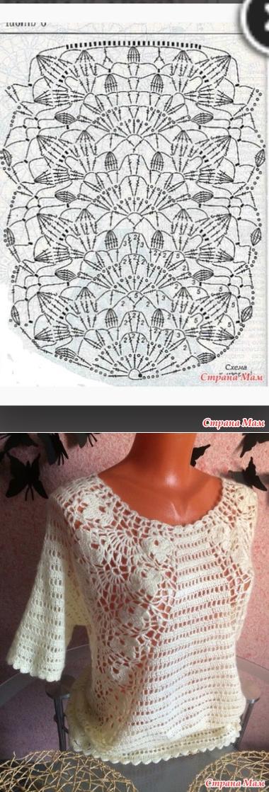 stranamam.ru | tejidos | Pinterest | Blusas, Ganchillo y Blusas de ...