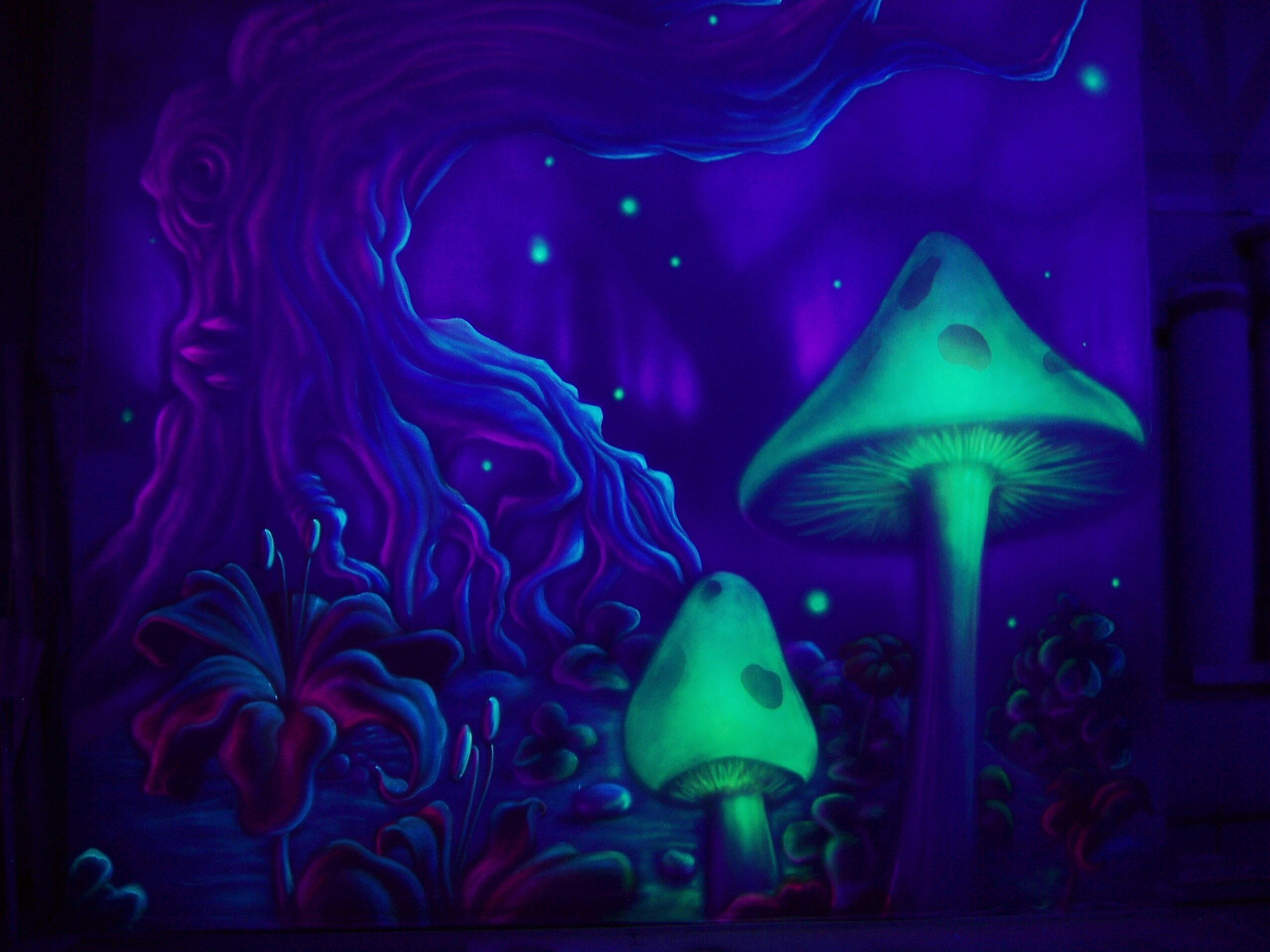 trippy mushroom wallpaper charcoal and pastel sketches
