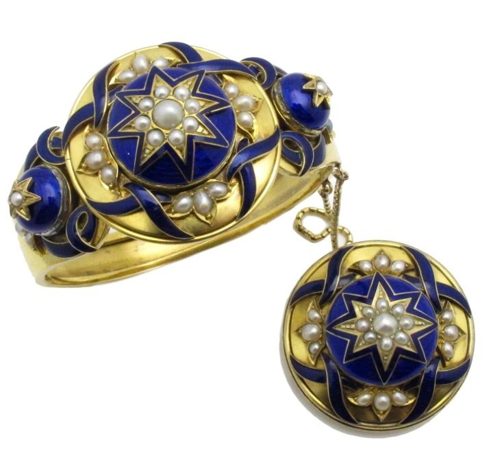 19th Century French Gold, Enamel and Pearl Bracelet and Brooch.