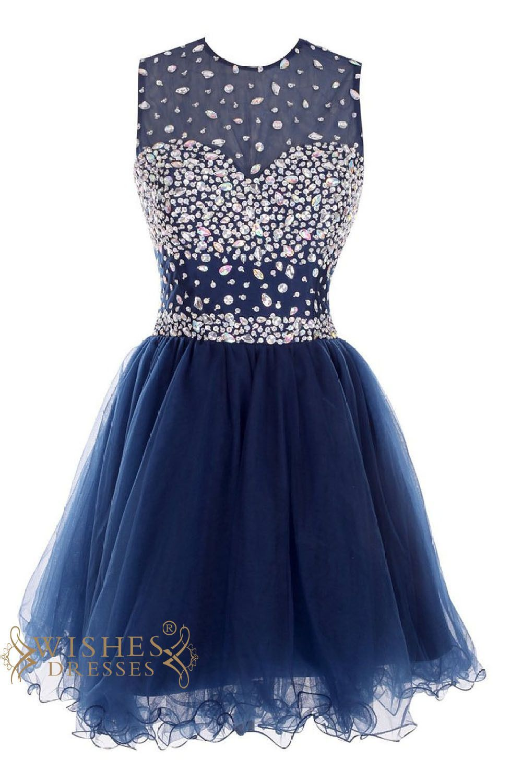 Oneck colorful gem royal blue cocktail dress short prom dress am