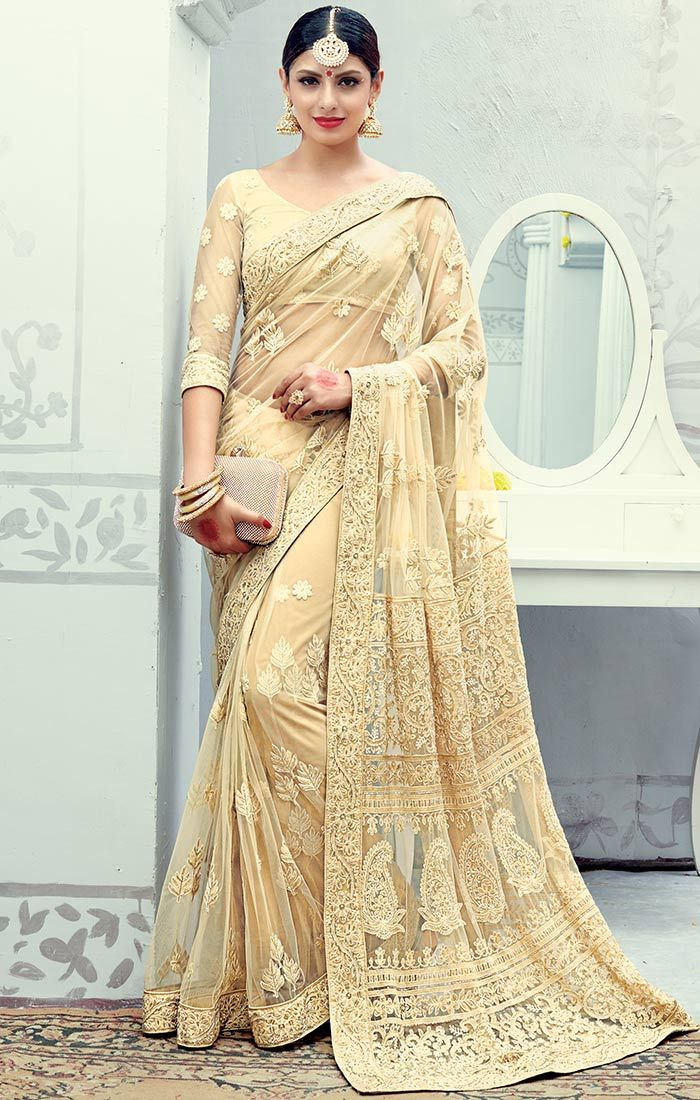 Designer Net Saree With Embroidered Pallu And Border For Smart Look Order