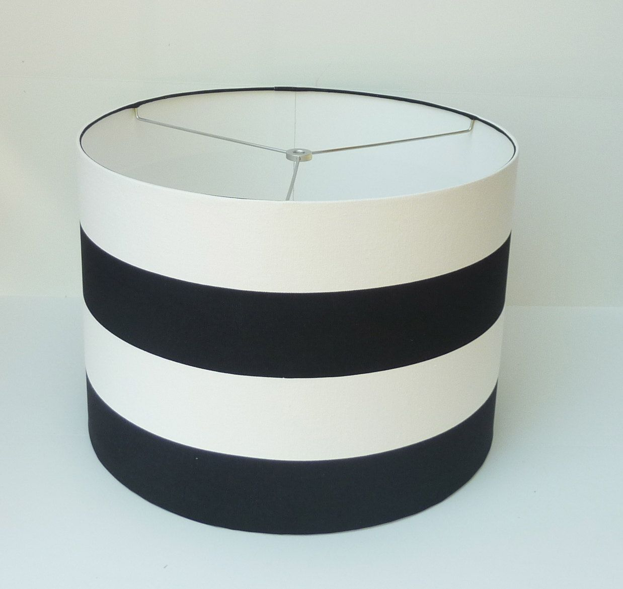 Custom Lampshade in Wide Navy Blue and White Stripe - Size ...
