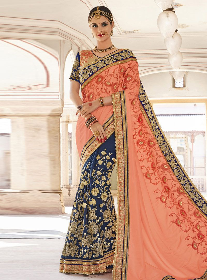 dc6e6947504bd5 Buy Peach Georgette Half and Half Saree 148708 with blouse online at lowest  price from vast collection of sarees at Indianclothstore.com.