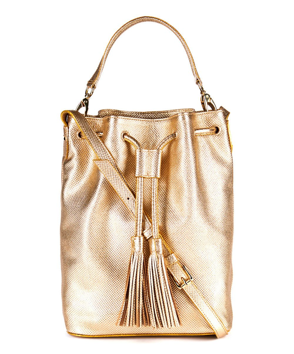 Look at this Gold Metallic Leather Bucket Bag on #zulily today!