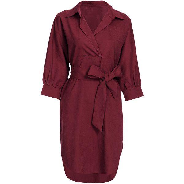 8a450b8b84b7 Yoins Burgundy Loose Lapel Long Sleeve Shirt Dress (£16) ❤ liked on Polyvore
