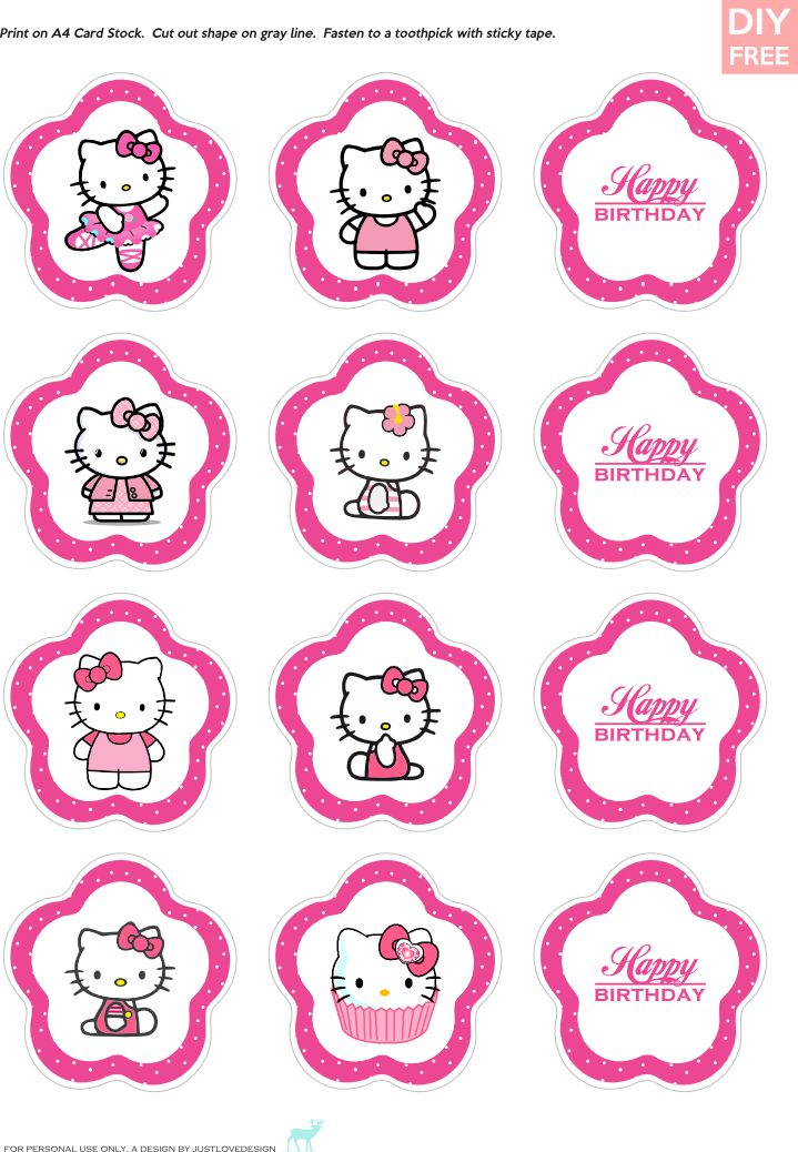 Justlovedesign Diy Free Hello Kitty Cupcake Toppers Download