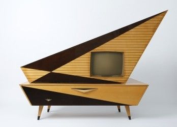 S/W-Standfernseher Kuba Komet 1223 SL, 1957, Herst.: Kuba Tonmöbel und Apparatebau