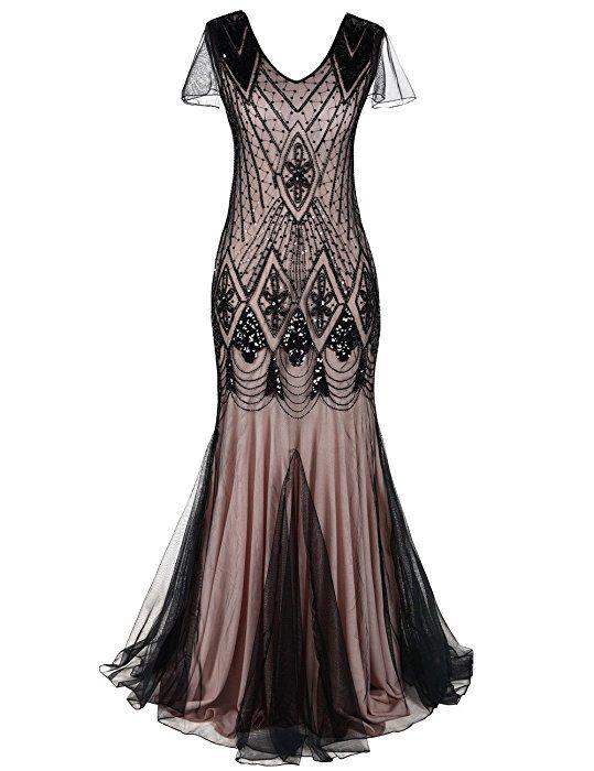 PrettyGuide Damen Abendkleid 1920er Flapper Paillette Maxi ...