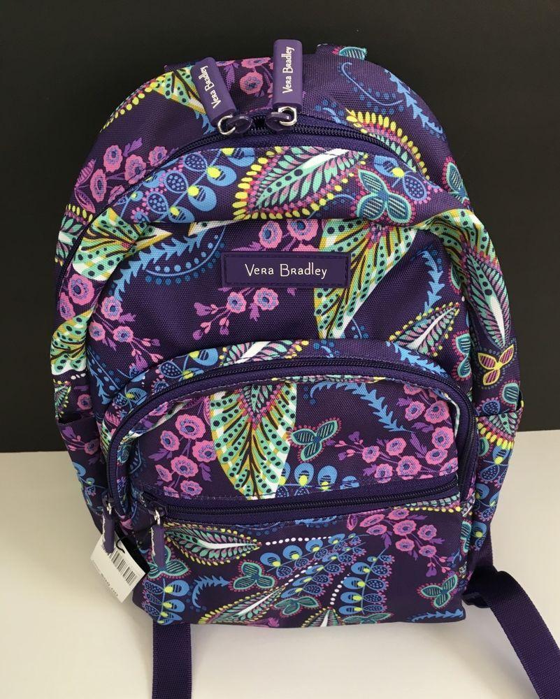 b8f08fd6ba2 Vera Bradley Lighten Up Essential Compact Backpack in Batik Leaves, NWT