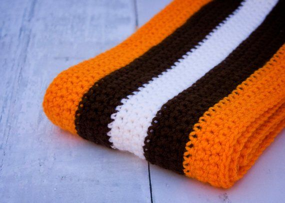 casual shoes excellent quality price reduced Cleveland Browns Helmet Scarf -- Striped Winter Scarf, Orange and ...