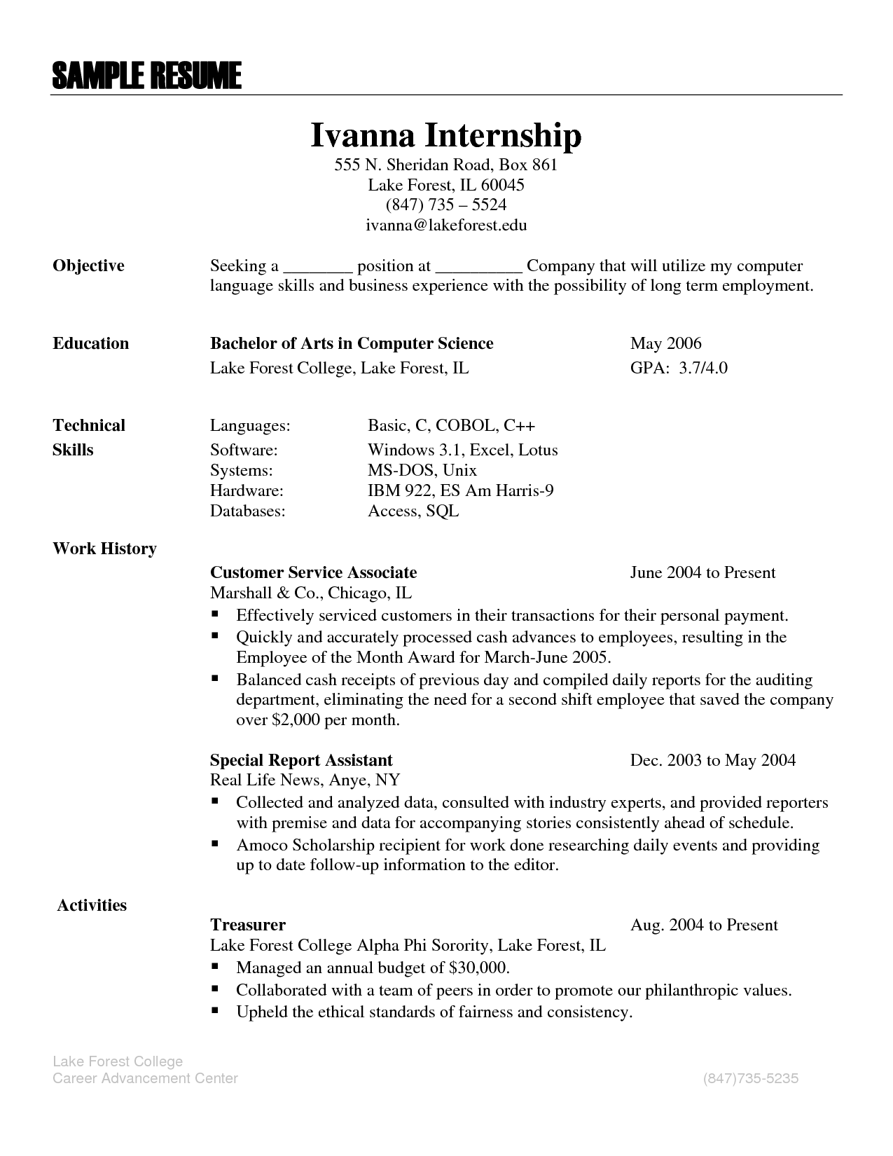 resume sample language