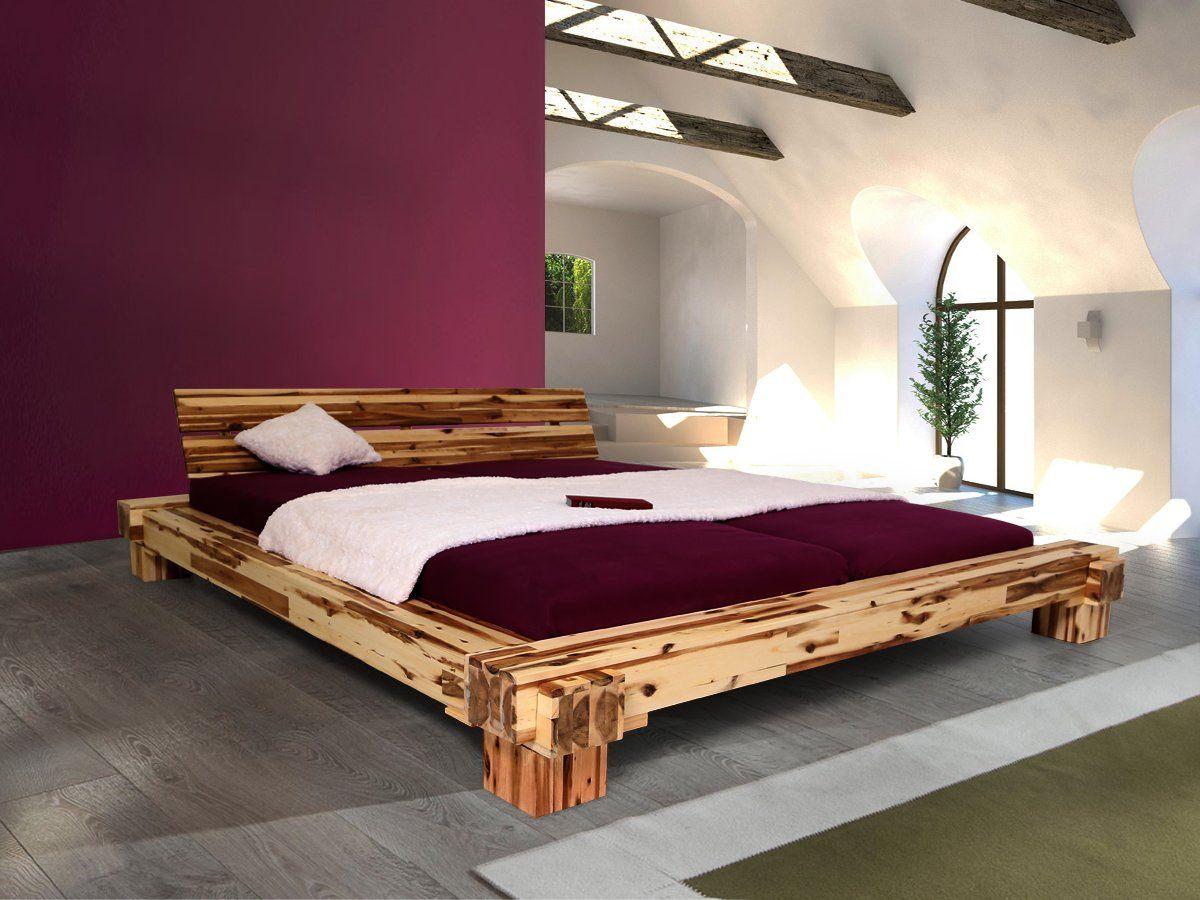 CALI Doppelbett/Massivholzbett Akazie massiv, 180 x 200: Amazon.de ...