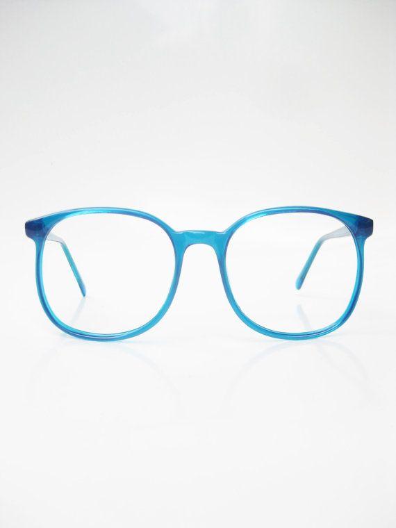 0a6cc88c06 Vintage 1970s Aqua Blue Oversized Sunglasses Eyeglasses Ladies Glasses  Bright Sea Cerulean Round Wayfarer Indie Hipster Chic Deadstock NOS