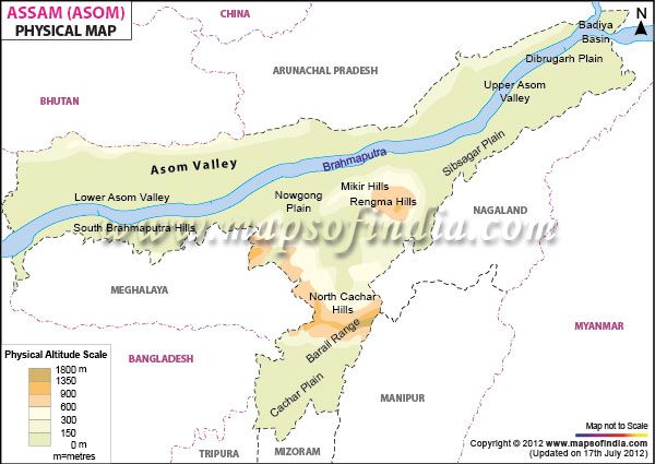 Assam Physical Map 149 INDIA cities and towns Pinterest