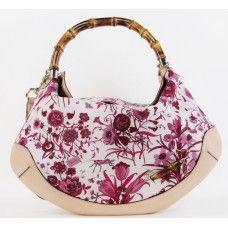 96da185b3 Gucci Pink Flora Canvas Peggy Bamboo Top Handle Handbag | Purses ...