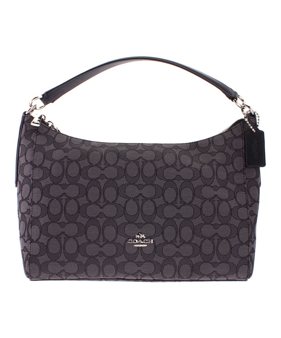 Look at this  zulilyfind! Silver   Black Signature Shoulder Bag by ... 78acf64ef3