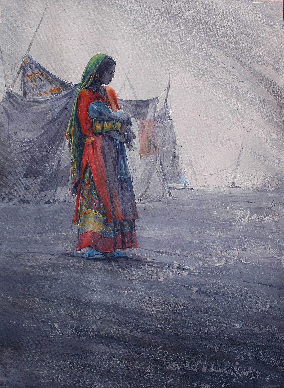Ali Abbas Rajasthani Painting Art Watercolor Indian