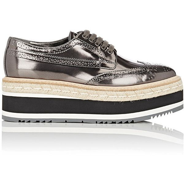 Prada Women's Leather Platform Espadrille Wingtip Oxfords (141570 ALL) ❤  liked on Polyvore featuring