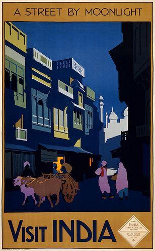 Visit India, a street by moonlight, travel poster, ca. 1920 | Flickr: Intercambio de fotos