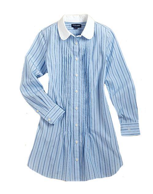d3cbad2c2 NWT Ralph Lauren Polo Girls Classic Shirt Dress Poplin Striped Long ...