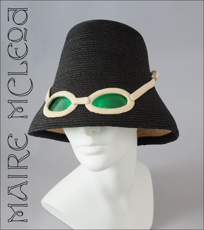 ICONIC 1960 s Hat w  Built in Sunglasses Italian - For sale on Ruby Lane 65fb43a5498